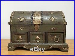 Indian Hand Carved Made Mango Wood Wooden Jewellery Box Chest Case Holder Large