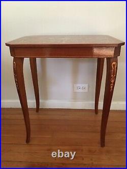 Italian End Table Wood Inlay Music Box Lara's Theme Jewelry Box 22 3/4 Tall