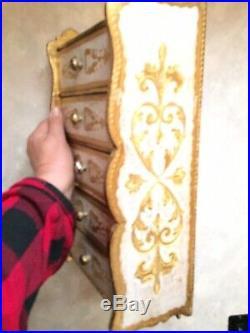 Italian Florentine 5 Drawer Wood Aqua Gilt Chest Jewelry Box Rare French Regency