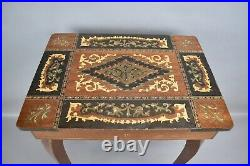 Italian Inlaid Wood Musical Music Box Jewelry Box Sewing Table Lador Works