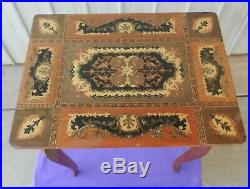 Italian Jewellery Musical Table Box Marquetry Reuge Hand Made Vintage