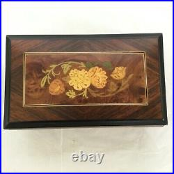 Italian Sorrento Music Jewelry Box Inlaid Wood Ruege 18 note'Try To Remember