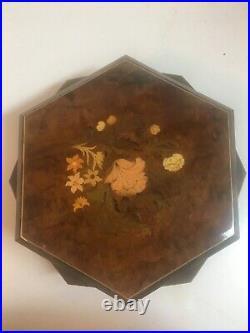 Italian Swiss Rare Wood Burl / Inlay Double Hexagon Jewelry Music Box