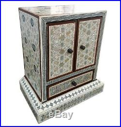 J55 Mother Of Pearl Mosaic Trinket Egyptian Chest Tower Jewelry Box