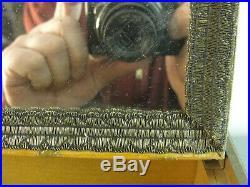 JEWELRY VANITY BOX ANTIQUE GLASS TOP VICTORIAN SCENE MIRRORED LID 1940's VINTAGE