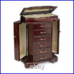 Jaclyn Smith Women's Wooden Dark Walnut Top Lid with Mirror Jewelry Box Armoire