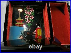 Japanese Vintage Jewelry & Music Box Hand Painted Wood with Mother of Pearl Inlay