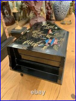 Japanese Vintage Lacquered Musical Jewellery Box Grand Piano with Ballerina
