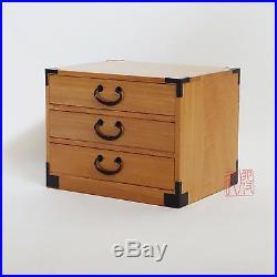 Japanese tansu style 3 drawer jewelry box, kiri wood (KB35H) honey finish