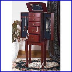 Jewelry Armoire Box Necklace Storage Cabinet Chest Stand Organizer Wood Mirror