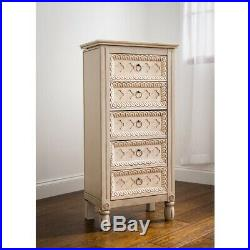 Jewelry Armoire Box Tall Vintage Chest Wood Storage Cabinet Stand Organize Ivory