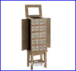 Jewelry Armoire Box White Oak Mirrored Rustic Chest Stand Wood Storage Cabinet Wood Jewelry Box
