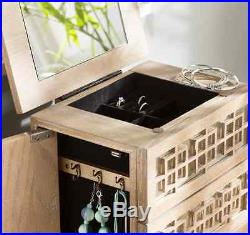 Jewelry Armoire Box White Oak Mirrored Rustic Chest Stand Wood Storage Cabinet