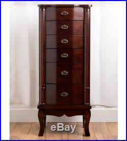 Jewelry Armoire Cabinet With Mirror Chest Tall Box Walnut Wood Storage Necklaces