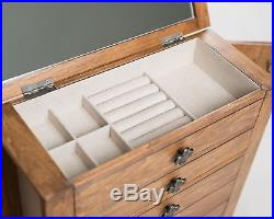 Jewelry Armoire Chest Box Storage Cabinet Mirror Stand Wood Organizer Rustic