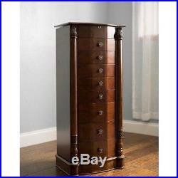 Jewelry Armoire Chest Box Tall Storage Cabinet Stand Wood Organizer Walnut NEW