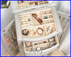 Jewelry Armoire Chest Silver Wood Box Tall Vintage Storage Stand Organizer