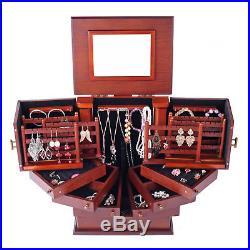 Jewelry Armoire Chest Wood Box Tall Vintage Storage Stand Trinket Organizer 18
