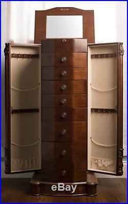 Jewelry Armoire Chest Wood Case Box Tall Cabinet Organizer Stand Mirror Walnut