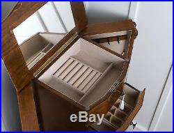 Jewelry Armoire Chest Wood Case Box Tall Cabinet Storage Organizer Stand Mirror