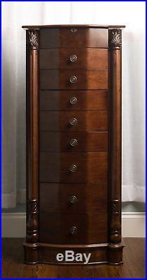Jewelry Armoire Chest Wood Case Box Tall Cabinet Storage Organizer Walnut New