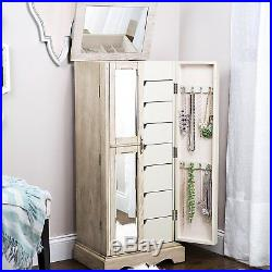 Jewelry Armoire Chest Wood Case Box Tall Durable Cabinet Storage Organizer Taupe