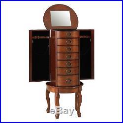 Jewelry Armoire Chest with Mirror Cherry-Finish Wood Cabinet Organizer Storage Box