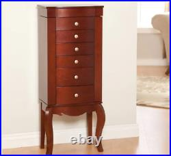 Jewelry Armoire Free Standing Chest Cabinet Holder Mirror Box Organizer Bedroom