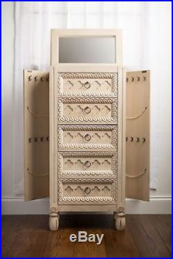 Jewelry Armoire Ivory Vintage Chest Box Tall Storage Cabinet Stand Wood Organize