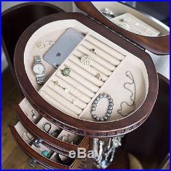 Jewelry Armoire Mirror 7 Drawer Luxury Box Organizer Lift Top Storage Chest