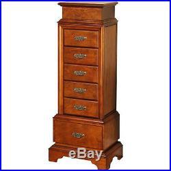 Jewelry Armoire Mirror Wood Cabinet Box Storage Chest Walnut Women Organizer New