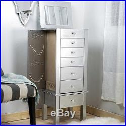 Jewelry Armoire Silver Wood Box Tall Modern Chest Storage Stand Drawer Organizer