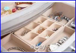 Jewelry Armoire Stand Up Box Mirror Vintage Antique Silver Chest Cabinet Bedroom