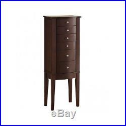 Jewelry Armoire Stand Wood Mirror Storage Tall Chest Cabinet Dark Box Organizer
