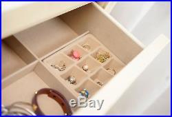 Jewelry Armoire Standing Wood Storage Cabinet Chest Organizer Drawers Mirror Box