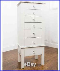 Jewelry Armoire White Box Mirrored Chest Stand Wood Tall Storage Cabinet Classic