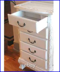 Jewelry Armoire White Dresser Stand Cabinet Lingerie Nightstand Vintage Wooden