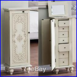 Jewelry Armoire With Lock Antique Locking White Tall Vintage Cabinet Box Storage