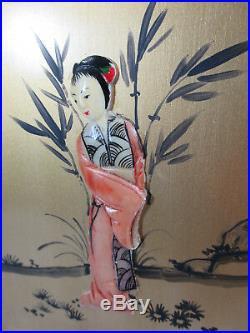 Jewelry Box 5 Drawer Chest Wood Hand Painted Geisha Lock Keys Vintage Hong Kong