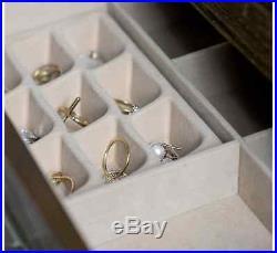 Jewelry Box Armoire Walnut With Mirror Tall Cabinet Wood Storage Chest Organizer