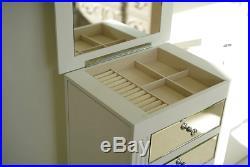 Jewelry Box Armoire White Mirrored Tall Stand Storage Wood Cabinet Organizer NEW