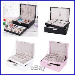 Jewelry Box Organizer Dual Layer Storage Leather Box for Rings Brackets