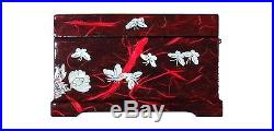 Jewelry Box Ring Organizer Mother of Pearl Inlay Mirror Lid 2 Level Peacock Red