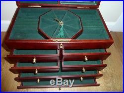 Jewelry CHEST / Box, BURL design, velvet lined, Key lock, Multi- drawer, HEAVY
