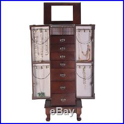 Jewelry Cabinet Armoire Box Storage Chest Stand Organizer Wood Christmas Gift