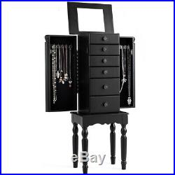 Jewelry Cabinet Armoire Storage Box Chest Standing Organizer with Drawers & Mirror