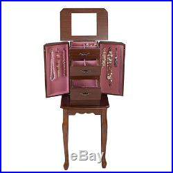 Jewelry Cabinet Armoire Storage Chest Stand Organizer Wood Box Christmas Gift