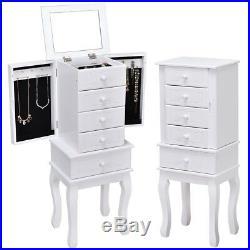 Jewelry Cabinet Armoire Storage Chest Stand Organizer Wood Box Freestanding New