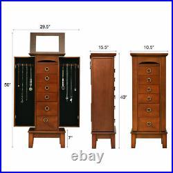 Jewelry Cabinet Armoire Wood Storage Box Chest Stand Organizer