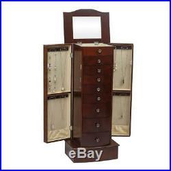 Jewelry Cabinet Box Storage Chest Necklace Wood Box Walnut Stand Organizer Gift